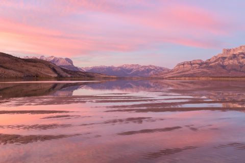 Jasper lake at sunset