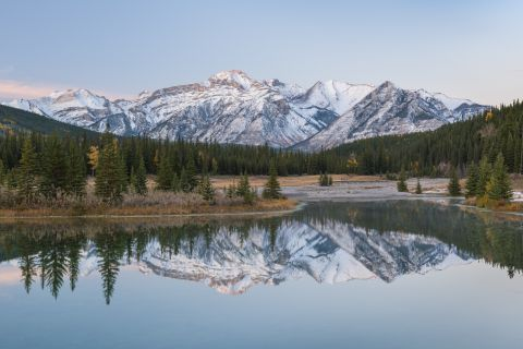 Mountain range reflecting in Cascade Ponds
