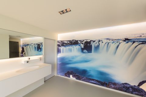 Photo wall in private bathroom