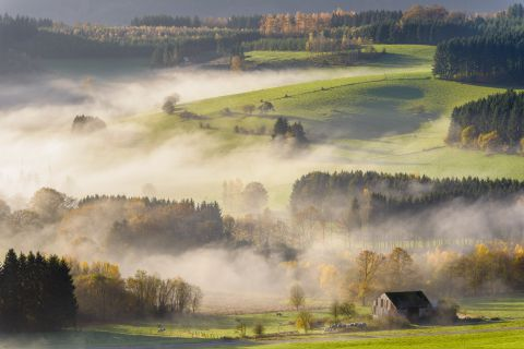 Mist in the valley of the Semois